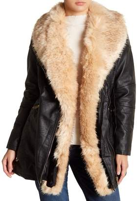 Love Token Faux Fur Shawl Collar Vegan Leather Jacket