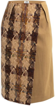 Cleo Prickett Pencil Wrap Skirt In Donegal Tweed & Contrast Gold Worsted Wool From Savile Row