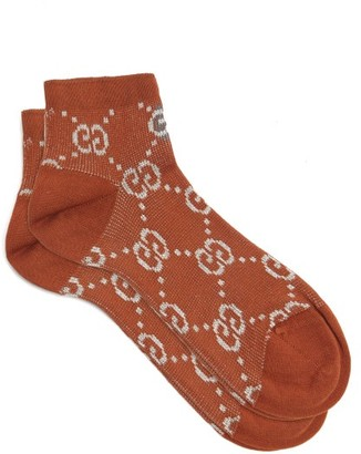 Gucci GG-intarsia Cotton-blend Lame Ankle Socks - Brown