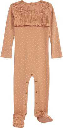 L'ovedbaby Nutmeg Smocked Organic Cotton Footie