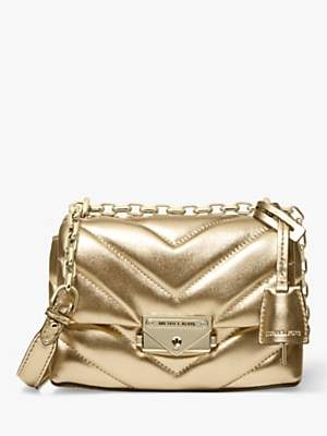 Michael Kors MICHAEL Cece Small Quilted Leather Cross Body Bag, Pale Gold