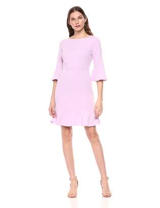 Nine West Women's Bell Sleeve Dress with Ruffle Skirt