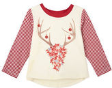 Andy & Evan Girls 2-6x Poinsettias Deer Graphic Tee