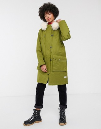 Parka London Aria parka coat with faux fur lined hood-Green