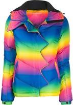 Perfect Moment Rainbow-Print Chevron Puffer Jacket