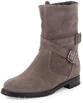 Manolo Blahnik Campocross Belted Mid-Calf Boot with Shearling, Gray