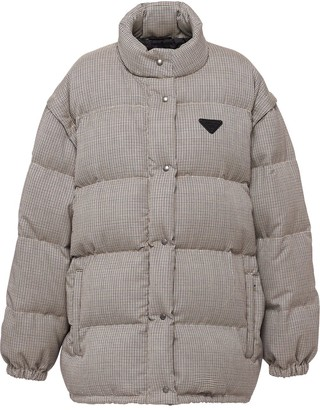 Prada Houndstooth Unzip Puffer Coat