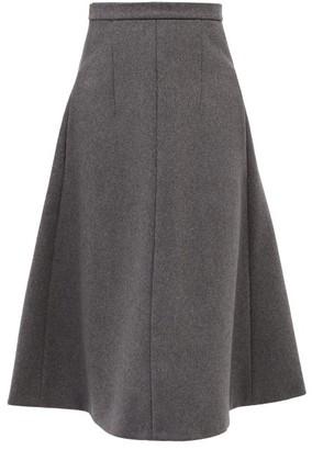 Rochas Tailored Wool-blend Flannel Skirt - Grey