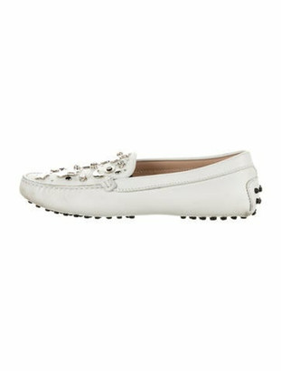 Tod's Leather Studded Accents Loafers White