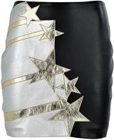 Faith Connexion Stars-patches Leather Mini Skirt