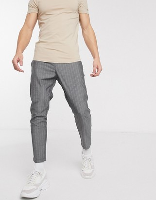 ONLY & SONS tapered cropped fit pin stripe pants in dark gray