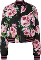 Dolce & Gabbana rose print quilted bomber jacket