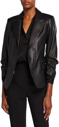 Kobi Halperin Caden Gathered Sleeve Leather Jacket