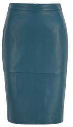HUGO BOSS Leather Pencil Skirt With Back Slit - Dark Blue