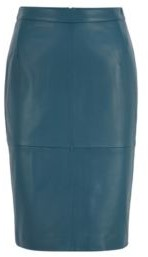 HUGO BOSS Leather Pencil Skirt With Side Slit - Dark Blue