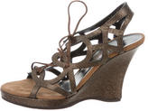 Salvatore Ferragamo Metallic Multistrap Sandals