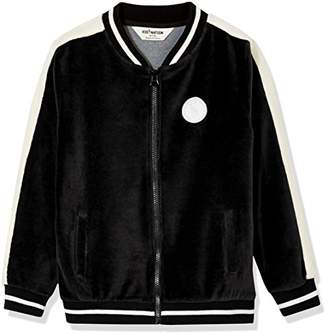 Kid Nation Kid's Velour Varsity Zip Front Jacket for Boys and Girls L
