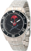 Marvel Mens Deadpool Silver-Tone Stainless Steel Bracelet Watch