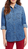 Allison Daley Petites Roll-Tab Sleeve Button Front Denim Shirt