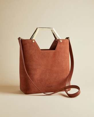 Ted Baker LAYAH Leather and suede hexagon handle shopper bag