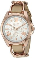 SO&CO New York Women's 5215.3 SoHo Quartz Day and Date Luminous Champagne Genuine Leather Strap Watch