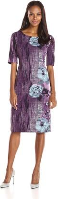 Maya Brooke Women's Short Sleeve Printed Shift Dress