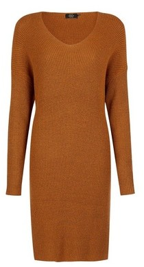 Dorothy Perkins Womens Only Brown Long Sleeve Knitted Dress, Brown