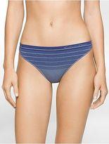 Calvin Klein Womens Seamless Illusions Stripe Print Thong Underwear