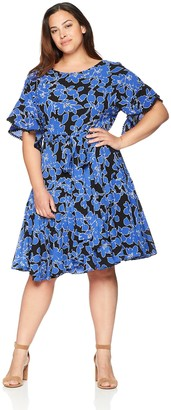 Taylor Dresses Women's Plus Size Floral Printed Crepe Dress with Ruffle Sleeves