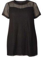 Dorothy Perkins Womens DP Curve Plus Size Black Chevron Lace Top- Black