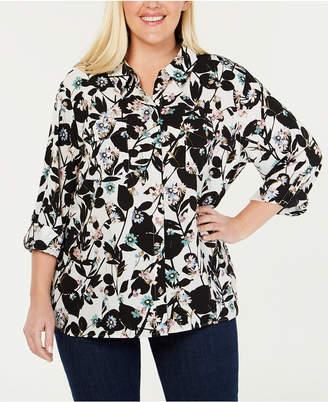 Tommy Hilfiger Plus Size Floral-Print Utility Shirt