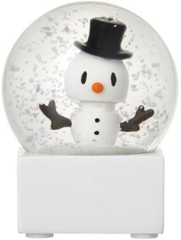 Hoptimist - Small White Glass Snowman Snow Globe - small | glass | white - White/White