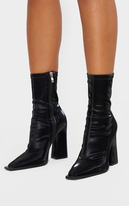 Indigo Black Square Toe Block Heel Ankle Sock Boot