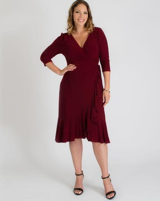 Kiyonna Whimsy Wrap Dress in Burgundy Size 1X Polyester