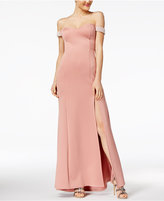 Crystal Doll Juniors' Off-The-Shoulder Scuba Gown