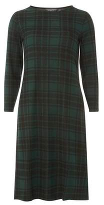 Dorothy Perkins Womens Tall Green Checked Jersey Shift Dress, Green