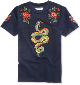 Reason Men's Snakes & Roses Cotton Navy Appliqué T-Shirt
