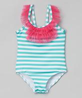 Pink Platinum Seafoam Stripe One-Piece - Infant