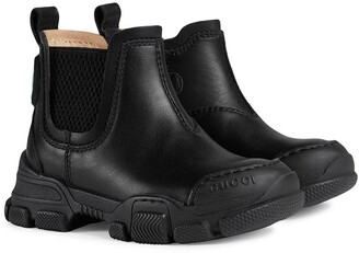 Gucci Kids Logo Patch Ankle Boots