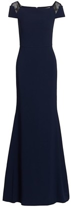 Roland Mouret Hepworth Speckled Lace Accent Gown