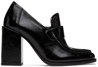 Ami Alexandre Mattiussi Black Leather Loafer Heels