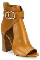 Chloé Millie Cutout Leather Block Heel Booties