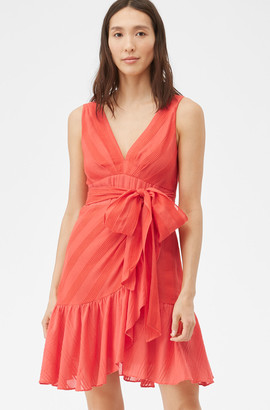 Rebecca Taylor Sheer Stripe Wrap Dress