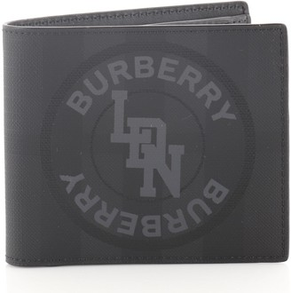 Burberry Logo Graphic Bifold Wallet London Check Coated Canvas Compact