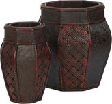 Asstd National Brand Nearly Natural Design & Weave Panel Decorative Planters Set Of 2