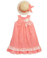 Iris & Ivy Girls 2-6x Lace Accented Dress and Hat Set