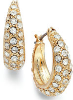 Charter Club Gold-Tone Crystal Pave Small Hoop Earrings