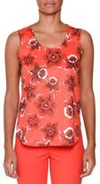 Piazza Sempione Sleeveless Floral-Print Blouse, Red