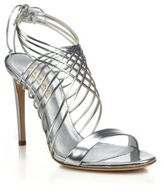 Casadei Metallic Leather Crisscross Sandals