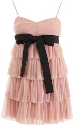 RED Valentino Bow Waist Frill Tiered Dress